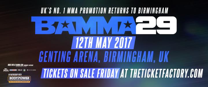BAMMA Returns To Birmingham For BAMMA 29