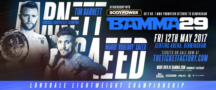 Barnett To Defend Lonsdale Title Against Saeed At BAMMA 29