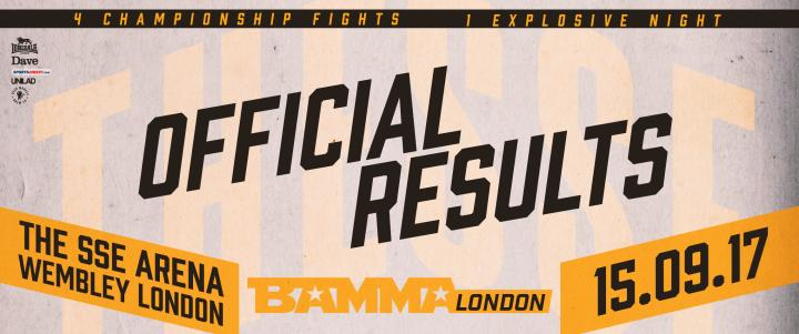 BAMMA London Official Results